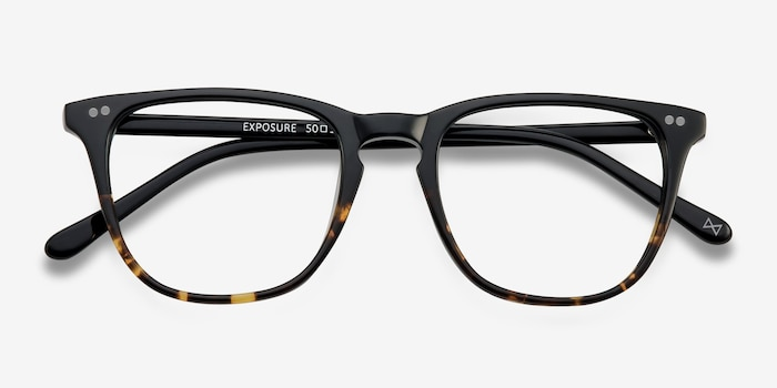 Exposure Jet Amber Acetate Eyeglass Frames from EyeBuyDirect, Closed View