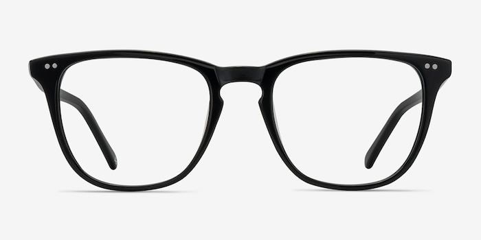 Exposure Jet Black Acetate Eyeglass Frames from EyeBuyDirect, Front View