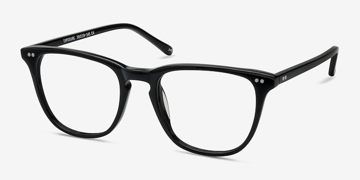 Exposure Jet Black Acetate Eyeglass Frames from EyeBuyDirect, Angle View