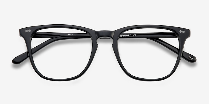 Exposure Jet Black Acetate Eyeglass Frames from EyeBuyDirect, Closed View