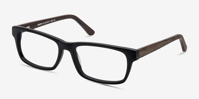Emory  Black Coffee Acétate Montures de Lunettes d'EyeBuyDirect, Vue d'Angle