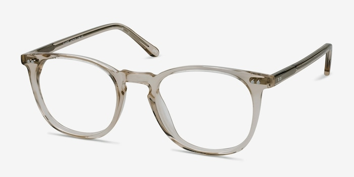 Shade Champagne Acetate Eyeglass Frames from EyeBuyDirect, Angle View