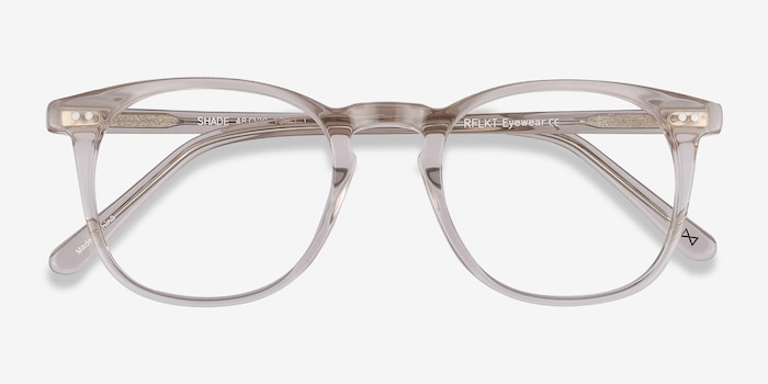 Shade Champagne Acetate Eyeglass Frames from EyeBuyDirect, Closed View
