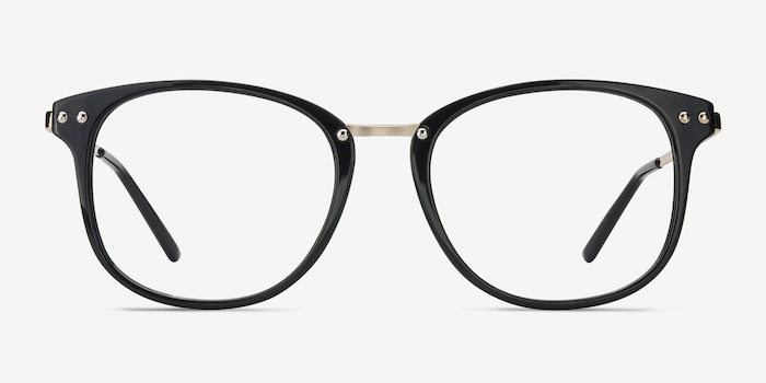 Cosmo Black Metal Eyeglass Frames from EyeBuyDirect, Front View