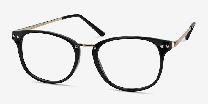 Cosmo Black Metal Eyeglass Frames from EyeBuyDirect, Angle View