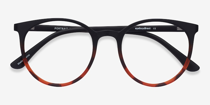 Portrait Black Tortoise Plastic Eyeglass Frames from EyeBuyDirect, Closed View