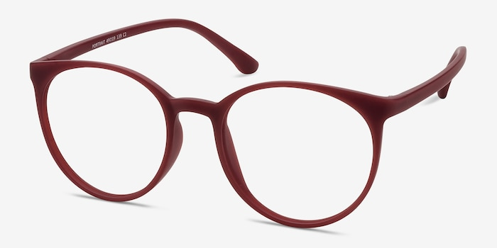 Portrait Matte Red Plastic Eyeglass Frames from EyeBuyDirect, Angle View