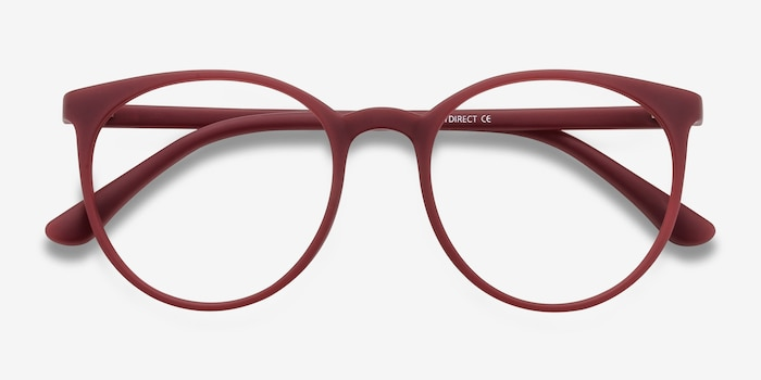 Portrait Matte Red Plastic Eyeglass Frames from EyeBuyDirect, Closed View