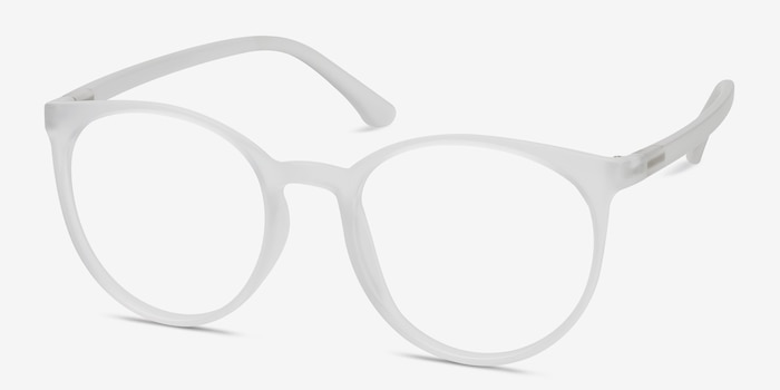 Portrait Matte Clear Plastic Eyeglass Frames from EyeBuyDirect, Angle View