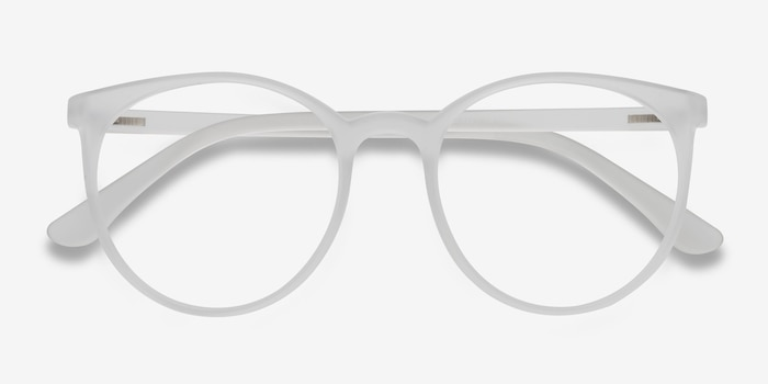 Portrait Matte Clear Plastic Eyeglass Frames from EyeBuyDirect, Closed View