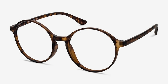 Poetic Matte tortoise Plastic Eyeglass Frames from EyeBuyDirect, Angle View