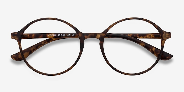 Poetic Matte tortoise Plastic Eyeglass Frames from EyeBuyDirect, Closed View
