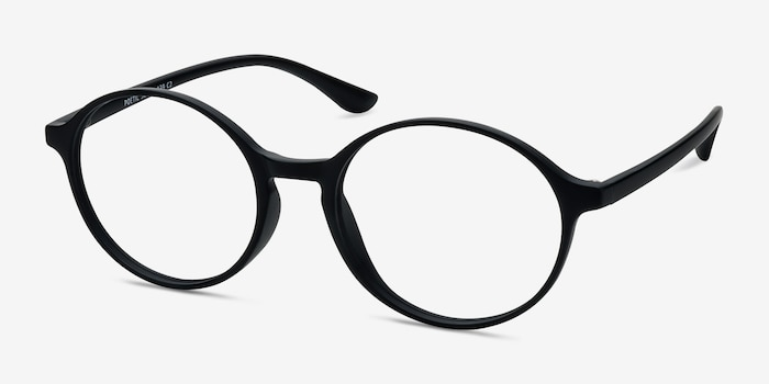 Poetic Matte Black Plastic Eyeglass Frames from EyeBuyDirect, Angle View