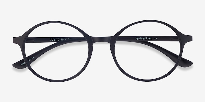 Poetic Matte Black Plastic Eyeglass Frames from EyeBuyDirect, Closed View