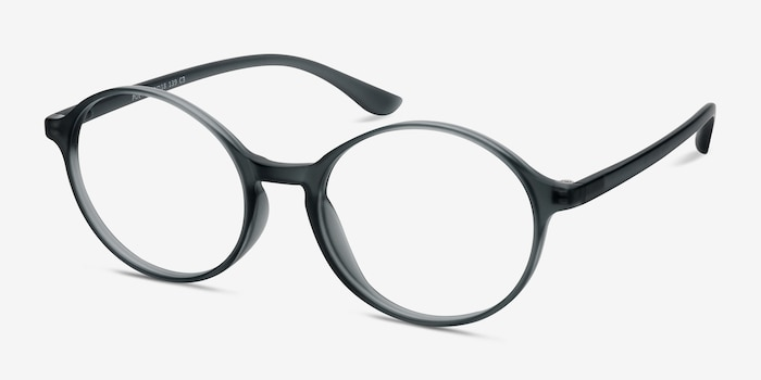 Poetic Matte Gray  Plastic Eyeglass Frames from EyeBuyDirect, Angle View