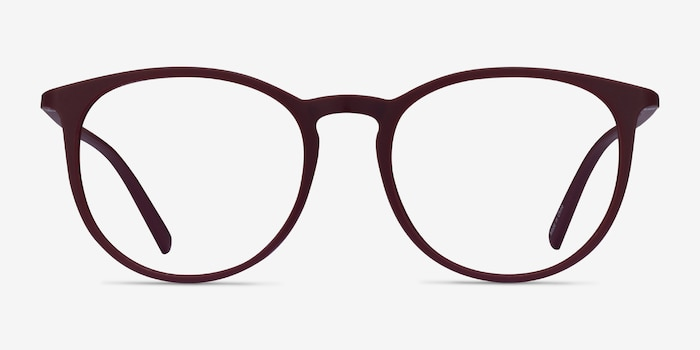 Dialogue Aubergine Plastic Eyeglass Frames from EyeBuyDirect, Front View