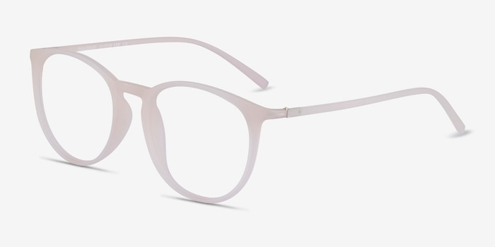 Dialogue Matte Clear Plastic Eyeglass Frames from EyeBuyDirect, Angle View