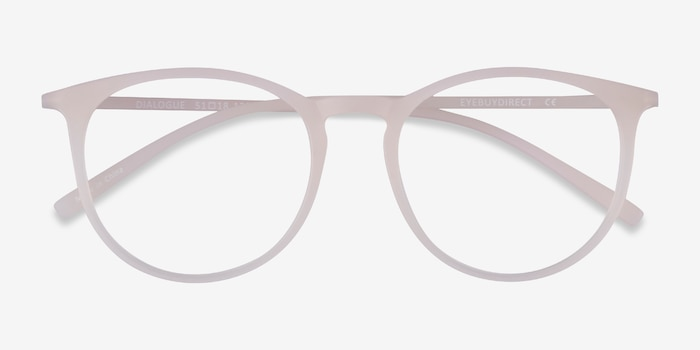 Dialogue Matte Clear Plastic Eyeglass Frames from EyeBuyDirect, Closed View
