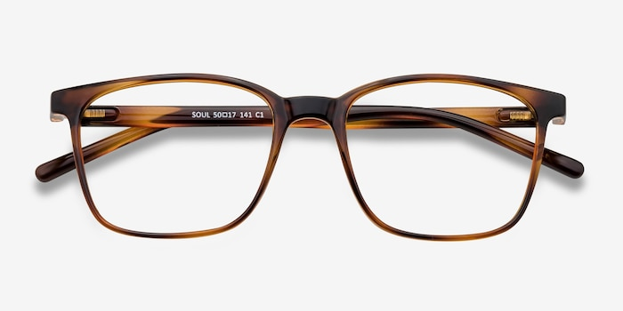 Soul Black Brown Plastic Eyeglass Frames from EyeBuyDirect, Closed View