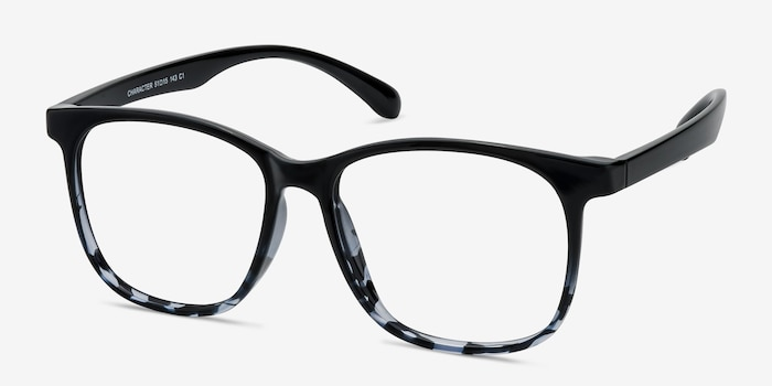 Character Black Navy Plastic Eyeglass Frames from EyeBuyDirect, Angle View