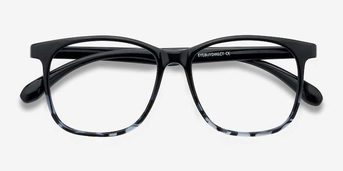 Character Black Navy Plastic Eyeglass Frames from EyeBuyDirect, Closed View