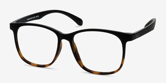 Character Black Tortoise Plastic Eyeglass Frames from EyeBuyDirect, Angle View