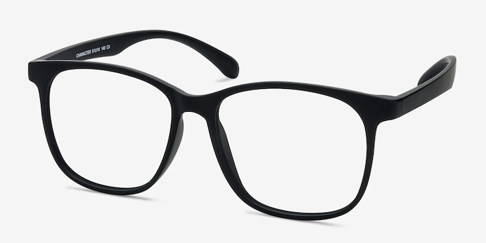 Character Matte Black Plastic Eyeglass Frames from EyeBuyDirect, Angle View