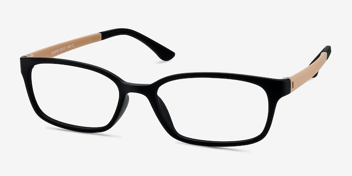 Clover Black & Apricot Plastic Eyeglass Frames from EyeBuyDirect, Angle View