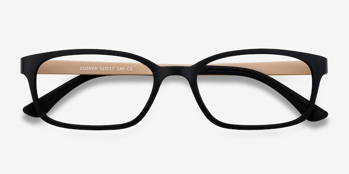 Clover Black & Apricot Plastic Eyeglass Frames from EyeBuyDirect, Closed View