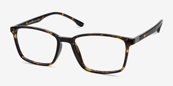 Northern Golden Tortoise Plastic Eyeglass Frames from EyeBuyDirect, Angle View