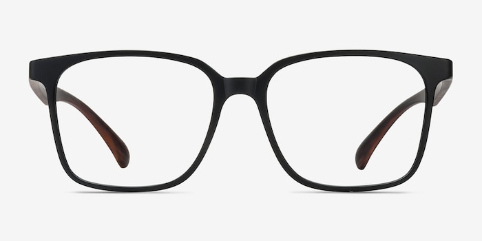 Magnus Matte Black Plastic Eyeglass Frames from EyeBuyDirect, Front View