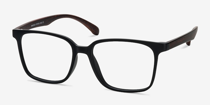 Magnus Matte Black Plastic Eyeglass Frames from EyeBuyDirect, Angle View