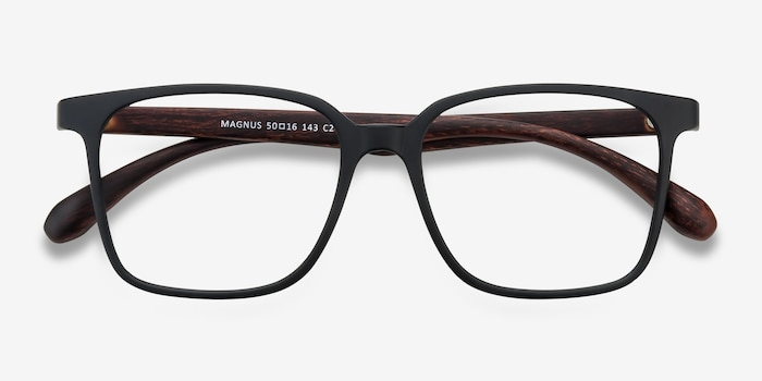 Magnus Matte Black Plastic Eyeglass Frames from EyeBuyDirect, Closed View