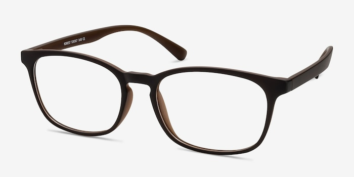 Forest Matte Brown Plastic Eyeglass Frames from EyeBuyDirect, Angle View