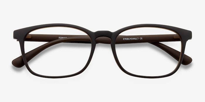 Forest Matte Brown Plastic Eyeglass Frames from EyeBuyDirect, Closed View