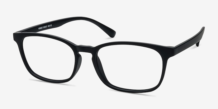 Forest Matte Black Plastic Eyeglass Frames from EyeBuyDirect, Angle View