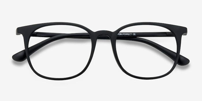 Cheer Matte Black Plastic Eyeglass Frames from EyeBuyDirect, Closed View