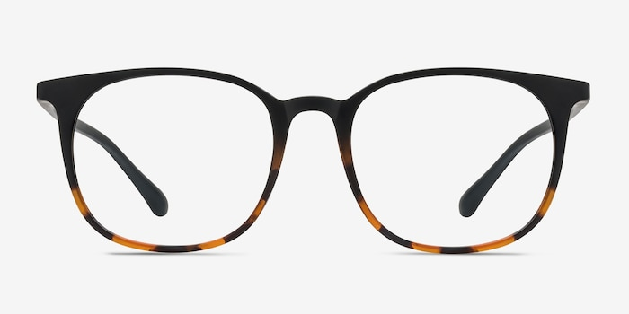Cheer Black Tortoise Plastic Eyeglass Frames from EyeBuyDirect, Front View