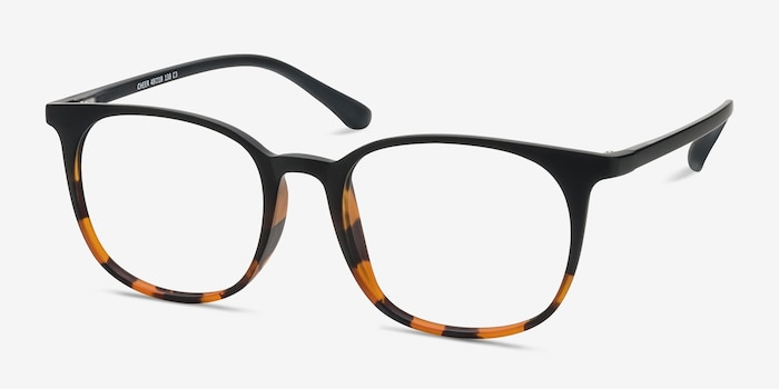 Cheer Black Tortoise Plastic Eyeglass Frames from EyeBuyDirect, Angle View