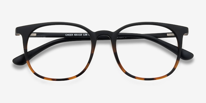 Cheer Black Tortoise Plastic Eyeglass Frames from EyeBuyDirect, Closed View
