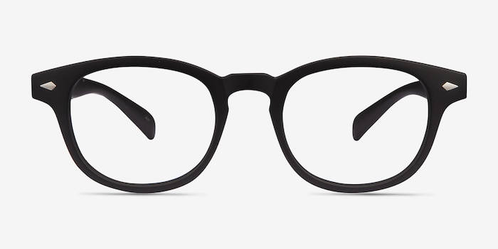 Atomic Matte Black Plastic Eyeglass Frames from EyeBuyDirect, Front View