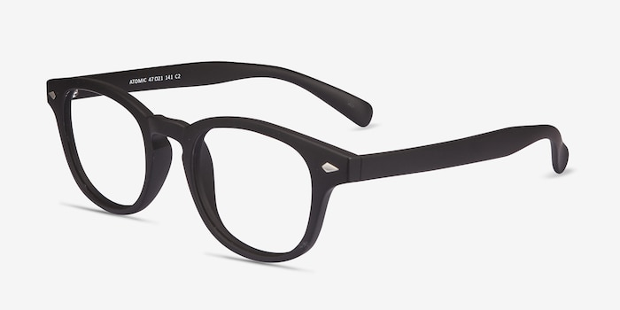 Atomic Matte Black Plastic Eyeglass Frames from EyeBuyDirect, Angle View