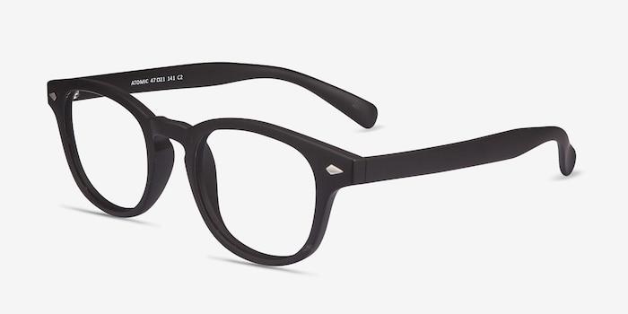 Atomic Matte Black Plastique Montures de Lunettes d'EyeBuyDirect, Vue d'Angle