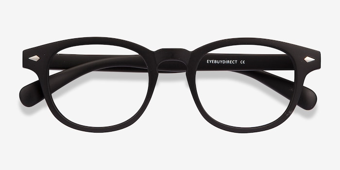 Atomic Matte Black Plastic Eyeglass Frames from EyeBuyDirect, Closed View