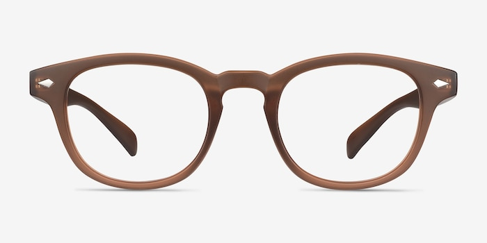 Atomic Matte Brown Plastic Eyeglass Frames from EyeBuyDirect, Front View