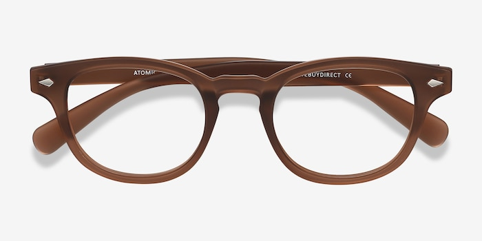 Atomic Matte Brown Plastic Eyeglass Frames from EyeBuyDirect, Closed View