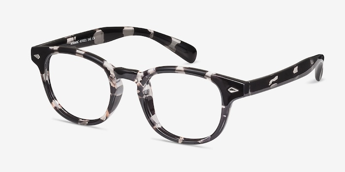 Atomic Gray Floral Plastic Eyeglass Frames from EyeBuyDirect, Angle View