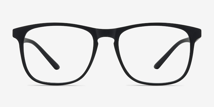 Ghent Matte Black Plastic Eyeglass Frames from EyeBuyDirect, Front View