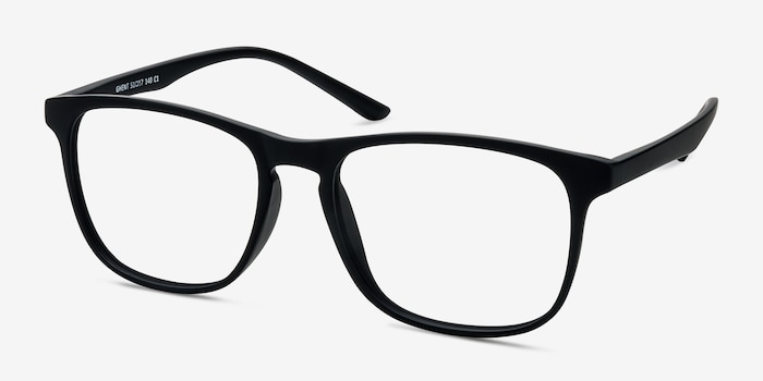 Ghent Matte Black Plastic Eyeglass Frames from EyeBuyDirect, Angle View