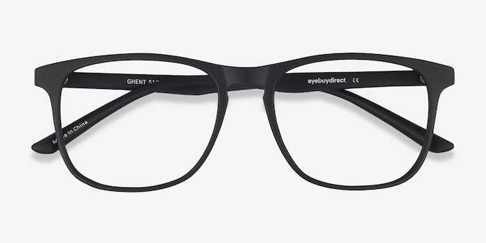 Ghent Matte Black Plastic Eyeglass Frames from EyeBuyDirect, Closed View